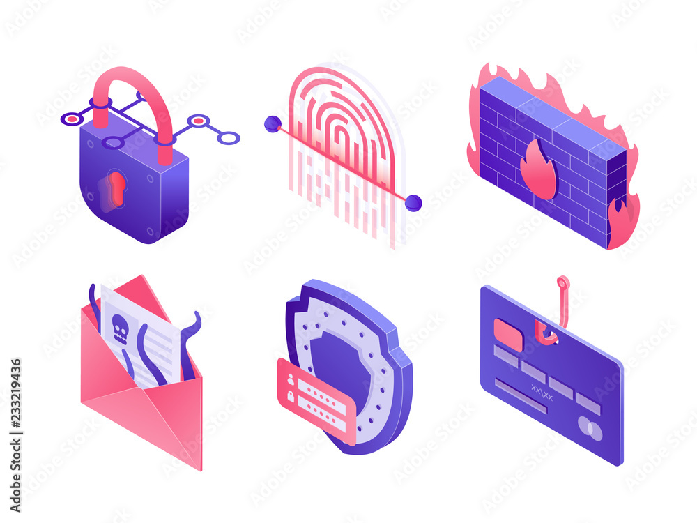 Fototapeta Cyber security isometric icons isolated on white background. Set of illustrations of secure data, email protection, safe mailing, payment, fingerprint scanner, padlock, password phishing, firewall