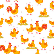 Cheerful Hens And Roosters Seamless Pattern. Chicken Cartoon Characters Isolated On White Background In Flat Design. Packaging Design Element, Set Of Vector Illustrations.