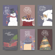 Set Of Six Color Banners With Brush Lettering Greeting, Showman, Angel, Sleigh, Lantern, Christmas Tree And Gift Bag.
