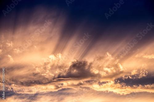 Shafts of sunlight, evening, sunset Canvas Print