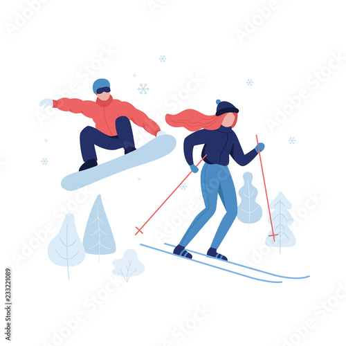 Cuadros en Lienzo People skiing and snowboarding in winter park rest zone vector flat illustration isolated on white background