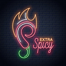 Chili Pepper With Fire Neon Sign. Hot Spicy Food Emblem Neon Background