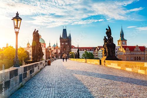 fototapeta na ścianę Charles bridge on the river Vltava, Prague, Czech Republic.
