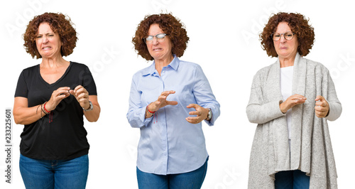 Fotografie, Tablou  Collage of middle age senior woman over white isolated background disgusted expression, displeased and fearful doing disgust face because aversion reaction