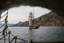 Old Vintage Sailing Vessel And...