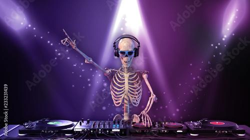 Fotomural  DJ Bones, human skeleton playing music on turntables, skeleton with disc jockey