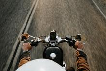Motorcyclist Holding Handles