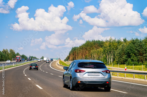Scenery with cars on road of Poland