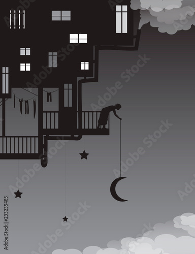 Plakaty do pokoju dziecka life-on-heavens-put-the-moon-on-the-night-sky-house-on-the-sky-with-man-putting-the-moon-above-the-clouds-fairy-characters-shadows