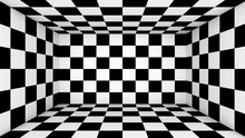 Checkered Empty Room. Abstract Wallpaper, Black And White Flooring Illusion Pattern Texture Background. 3d Squares Illustration