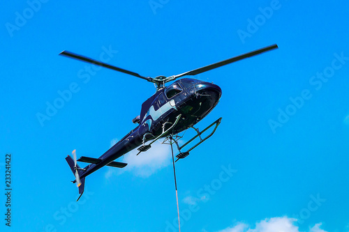 Helicopter flying sky in Lavaux Switzerland