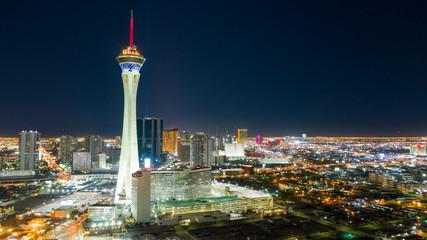 Widok z lotu ptaka Downtown City Skyline Urban Core Las Vegas Nevada