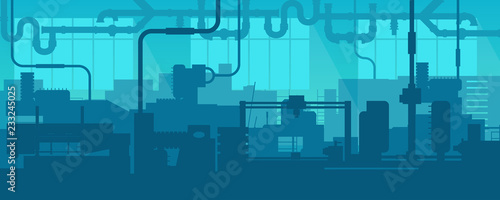 Foto auf AluDibond Blau türkis Creative vector illustration of factory line manufacturing industrial plant scen interior background. Art design the silhouette of the industry 4.0 zone template. Abstract concept graphic element