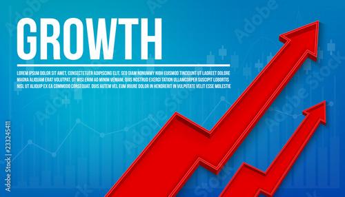 Tablou Canvas Creative vector illustration 3d arrow financial growth, graphic grow banner background