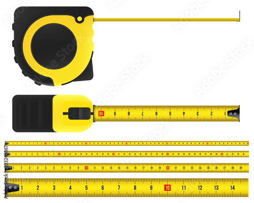 Obraz Creative vector illustration of tape measure, measuring tool, ruler, meter isolated on transparent background. Art design roulette template. Abstract concept graphic element - fototapety do salonu