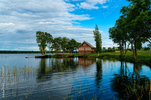 Vászonkép Old wooden house in Kizhi Pogost and Ladoga Lake Karelia