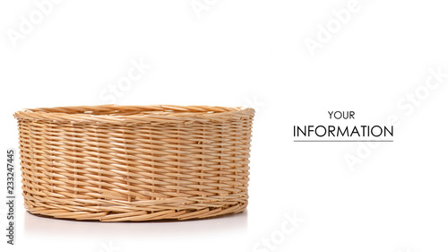 Foto Wicker basket empty pattern on white background isolation