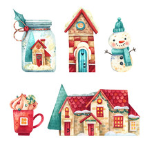 Christmas Set Of Watercolor El...