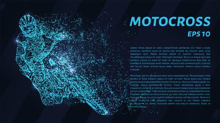 Fototapeta Motocross of blue glowing dots. Motocross vector illustration.