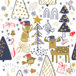 Winter forest background with animals and trees. Seamless pattern