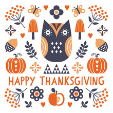 Vector Happy Thanksgiving Card...