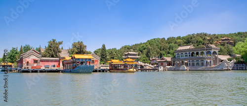 Panoramic view of the imperial Summer Palace with Kunming Lake and the famous Marble Boat in Beijing, China