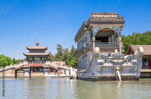 Marble Boat also known as the Boat of Purity and Ease in Summer Palace, Beijing, China.