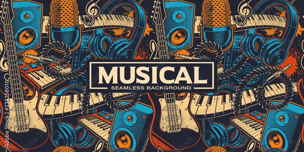 Fototapeta Musical seamless background with different insrtuments