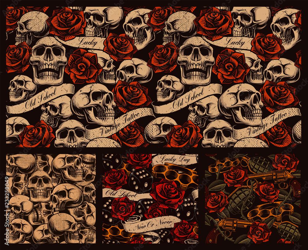 Fototapeta Set of seamless tattoo backgrounds with skulls