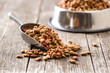 Leinwanddruck Bild - Dry pet food. Dry kibble food.