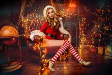 Santa Girl In Interior