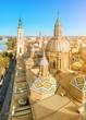Aerial view on the Zaragoza city from the tower of Our Lady Pilar basilica and Ebro river in Spain