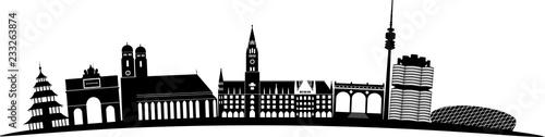München skyline detailliert gebogen // Vektor Fototapeta