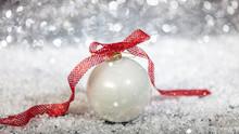 Christmas Ball And Snow, Abstract Bokeh Lights Background