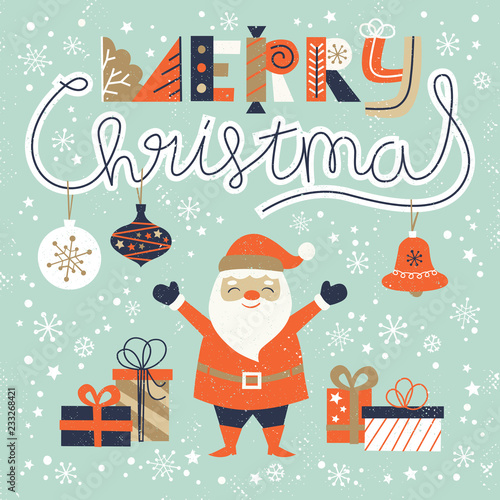 Fotografía  Merry Christmas card  templates with hand drawn santa claus, holiday elements and lettering