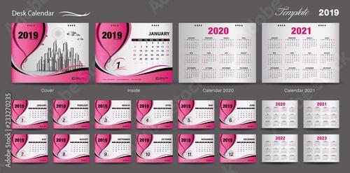 Calendario 2020 Chile Vector.Set Desk Calendar 2019 Template Design Vector Calendar 2020