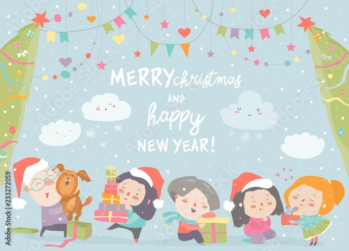 Happy cartoon children with Christmas gifts. Merry Christmas