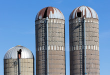 Grouping Of Three Silos In Rural United States
