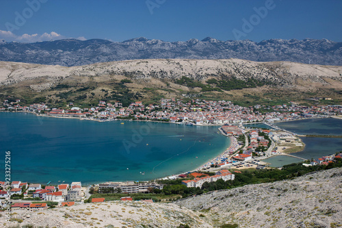 Fotografie, Obraz  Aerial view of town Pag, Pag island, Croatia