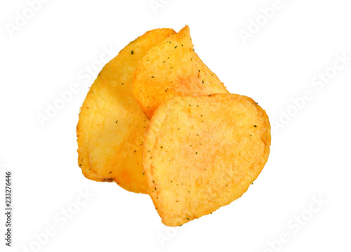 In de dag Kruiderij Potato chips close-up isolated white background. Full depth of field