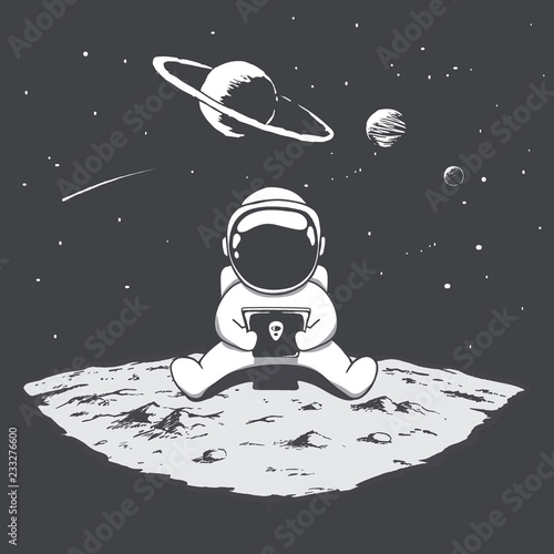 Cute astronaut sits on moon and playing on a smartphone Poster Mural XXL