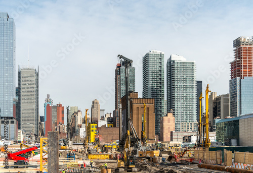 Photo  New York, major construction site at the High Line Park on the Hudson River and Park, Chelsea