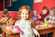 The preschoolers group in kindergarten together, Nursery group play with block ,