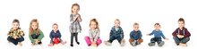 A Group Of Child And Baby Sitting On White Studio Background
