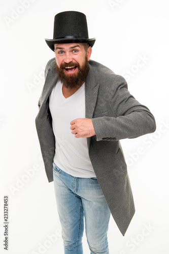 Fotografie, Obraz  Man bearded guy cheerful face solve problem as magician