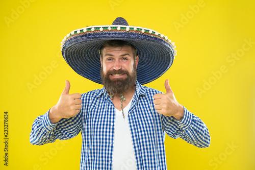 Fényképezés  Mexican guy happy festive outfit ready to celebrate