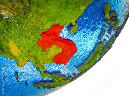 Foto  Indochina on 3D model of Earth with water and divided countries.