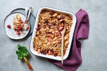 Close Up Of Rhubarb Crumble In Casserole