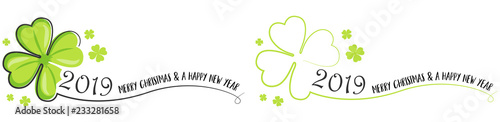 Fotomural  2019 Happy new year vector drawing set