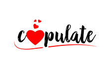 Copulate Word Text Typography Design Logo Icon With Red Love Heart